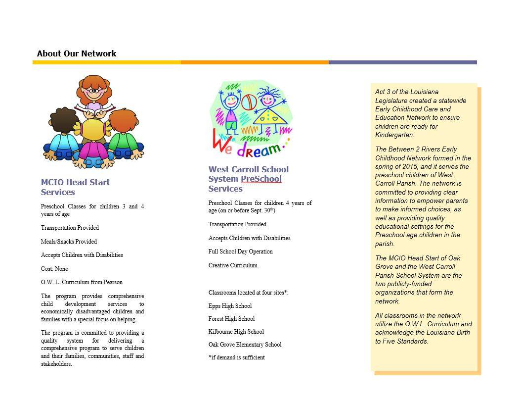 This image shows the back of the WCP pre-kindergarten flyer.